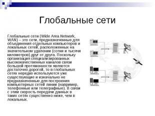 Глобальные сети Глобальные сети (Wide Area Network, WAN) – это сети, предназначе