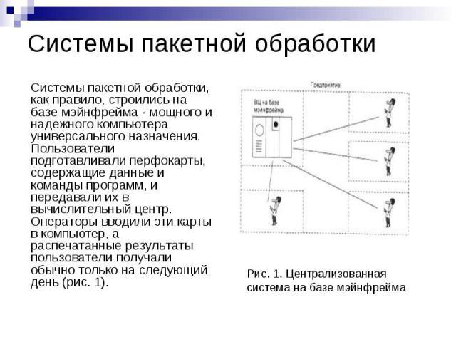 Системы пакетной обработки Системы пакетной обработки, как правило, строились на базе мэйнфрейма - мощного и надежного компьютера универсального назначения. Пользователи подготавливали перфокарты, содержащие данные и команды программ, и передавали и…