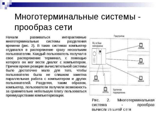 Многотерминальные системы - прообраз сети