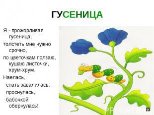 ГУСЕНИЦА Я - прожорливая гусеница, толстеть мне нужно срочно, по цветочкам полза