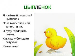 ЦЫПЛЁНОК Я - жёлтый пушистый цыплёнок, Пока голосочек мой тонок, пи-пи, Я буду г