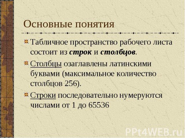 Основные понятия Табличное пространство рабочего листа состоит из строк и столбцов. Столбцы озаглавлены латинскими буквами (максимальное количество столбцов 256). Строки последовательно нумеруются числами от 1 до 65536