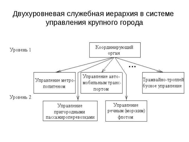 Двухуровневая служебная иерархия в системе управления крупного города