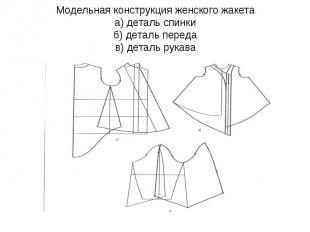 Модельная конструкция женского жакета а) деталь спинки б) деталь переда в) детал