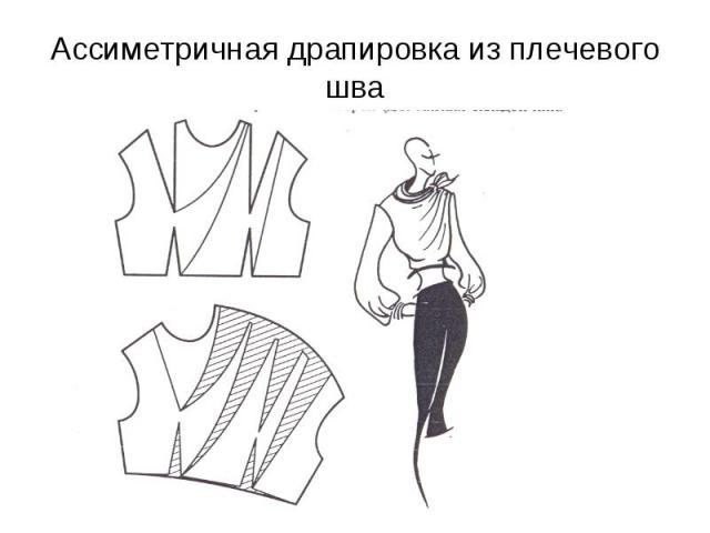 Ассиметричная драпировка из плечевого шва