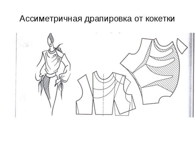 Ассиметричная драпировка от кокетки