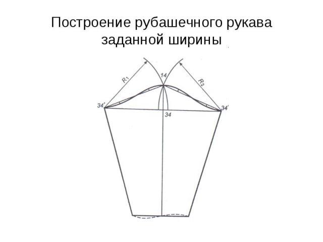 Построение рубашечного рукава заданной ширины