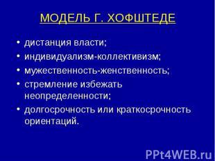 МОДЕЛЬ Г. ХОФШТЕДЕ дистанция власти; индивидуализм-коллективизм; мужественность-