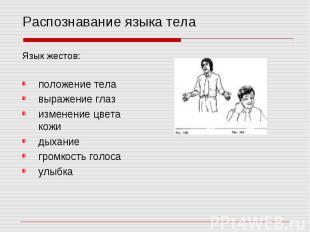 Распознавание языка тела Язык жестов: положение тела выражение глаз изменение цв