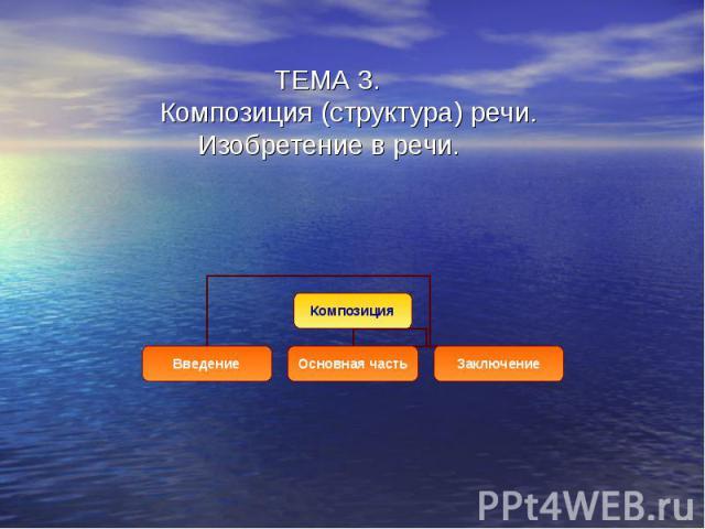 ТЕМА 3. Композиция (структура) речи. Изобретение в речи.