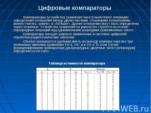 Цифровые компараторы Компараторы (устройства сравнения чисел) выполняют операцию