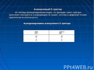 Асинхронный D-триггер Из таблицы функционирования видно, что функцию такого триг