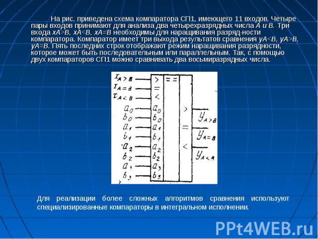 На рис. приведена схема компаратора СП1, имеющего 11 входов. Четыре пары входов принимают для анализа два четырехразрядных числа А и В. Три входа xA>B, хA<B, xA=B необходимы для наращивания разрядности компаратора. Компаратор имеет три вы…