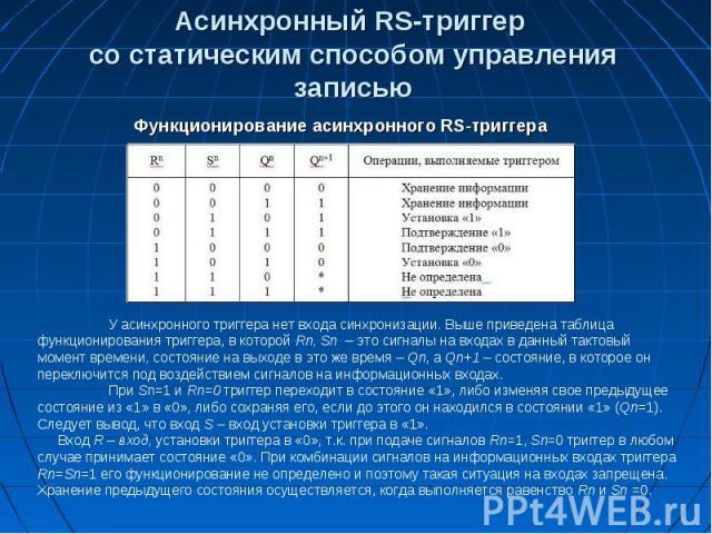 Асинхронный RS-триггер со статическим способом управления записью Функционирование асинхронного RS-триггера