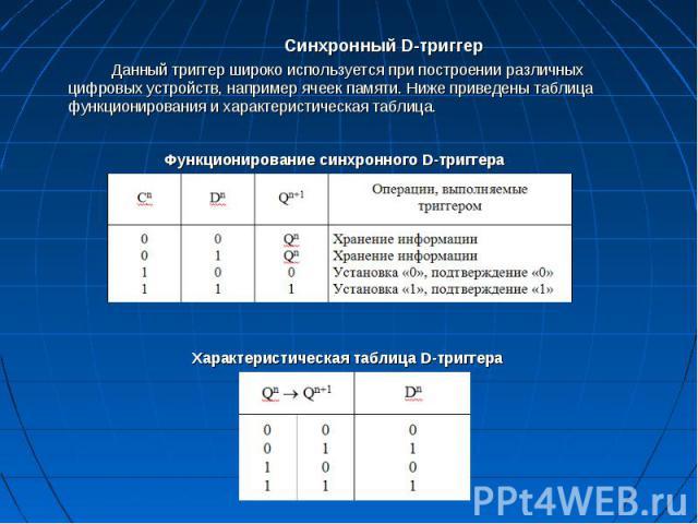 Синхронный D-триггер Синхронный D-триггер Данный триггер широко используется при построении различных цифровых устройств, например ячеек памяти. Ниже приведены таблица функционирования и характеристическая таблица.