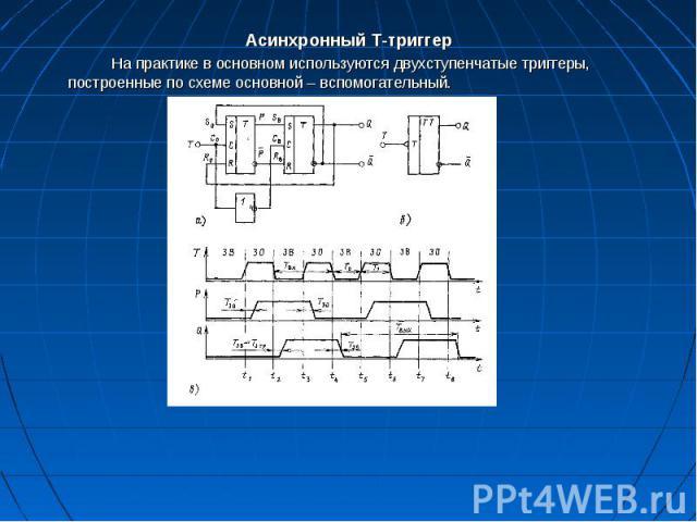 Асинхронный Т-триггер Асинхронный Т-триггер На практике в основном используются двухступенчатые триггеры, построенные по схеме основной– вспомогательный.
