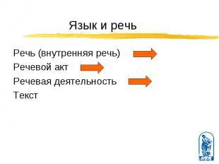 Речь (внутренняя речь) Речь (внутренняя речь) Речевой акт Речевая деятельность Т