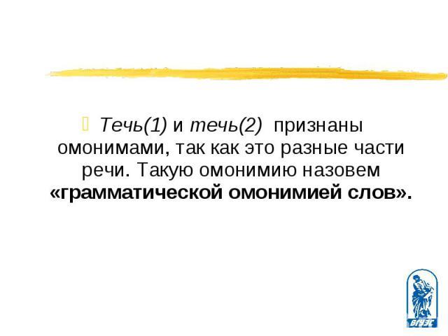 Течь(1) и течь(2) признаны омонимами, так как это разные части речи. Такую омонимию назовем «грамматической омонимией слов».