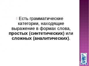 Есть грамматические категории, находящие выражение в формах слова, простых (синт