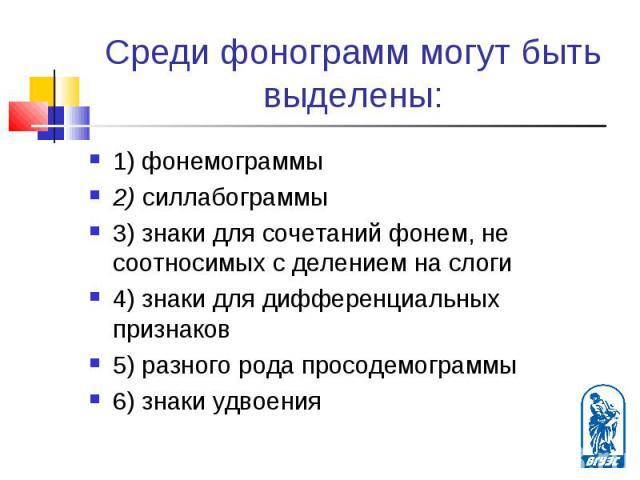 1) фонемограммы 1) фонемограммы 2) силлабограммы 3) знаки для сочетаний фонем, не соотносимых с делением на слоги 4) знаки для дифференциальных признаков 5) разного рода просодемограммы 6) знаки удвоения