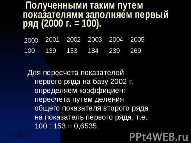 Полученными таким путем показателями заполняем первый ряд (2000 г. = 100). Для пересчета показателей первого ряда на базу 2002 г. определяем коэффициент пересчета путем деления общего показателя второго ряда на показатель первого ряда, т.е. 100 : 15…