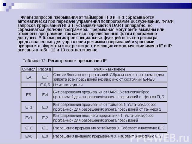 Флаги запросов прерывания от таймеров TF0 и TF1 сбрасываются автоматически при передаче управления подпрограмме обслуживания. Флаги запросов прерывания RI и TI устанавливаются UART аппаратно, но сбрасываться должны программой. Прерывания могут быть …