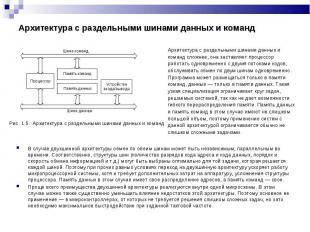 Рис. 1.5. Архитектура с раздельными шинами данных и команд Рис. 1.5.
