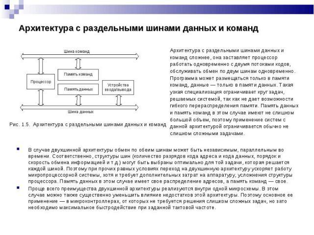 Рис. 1.5. Архитектура с раздельными шинами данных и команд Рис. 1.5. Архитектура с раздельными шинами данных и команд