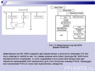 Рис 2.5 Микропроцессор МС6800 фирмы Motorola. Рис 2.5 Микропроцессор МС6800 фирм