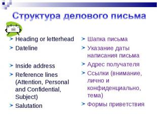 Heading or letterhead Heading or letterhead Dateline Inside address Reference li