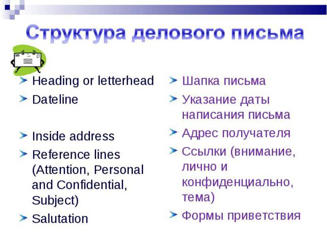 Heading or letterhead Heading or letterhead Dateline Inside address Reference lines (Attention, Personal and Confidential, Subject) Salutation