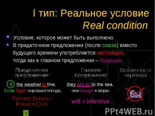 I тип: Реальное условие Условие, которое может быть выполнено. В придаточном пре