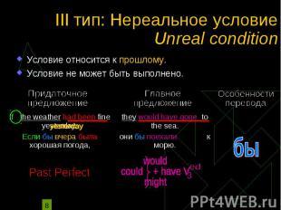 III тип: Нереальное условие Unreal condition Условие относится к прошлому. Услов