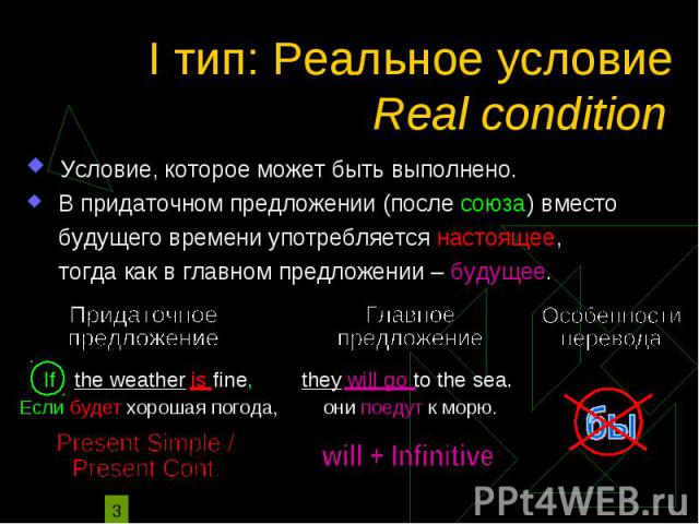 I тип: Реальное условие Условие, которое может быть выполнено. В придаточном предложении (после союза) вместо будущего времени употребляется настоящее, тогда как в главном предложении – будущее.