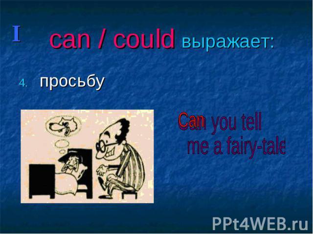 can / could выражает: просьбу