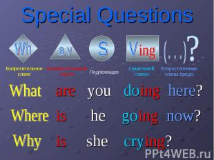 Special Questions are you doing here? is he going now? is she crying?