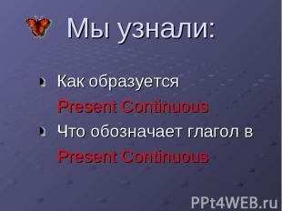 Мы узнали: Как образуется Present Continuous Что обозначает глагол в Present Con