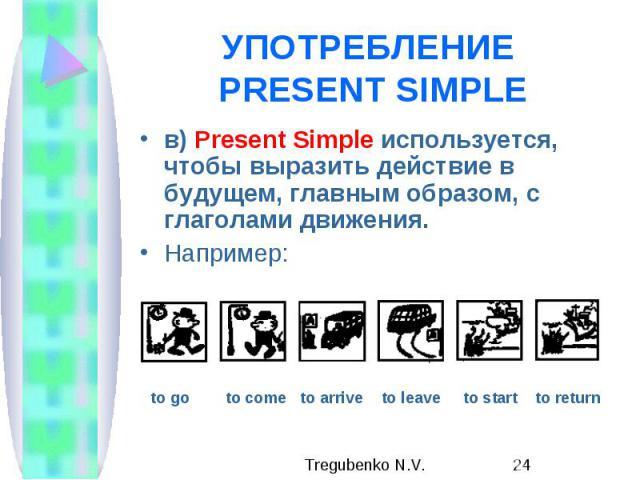 УПОТРЕБЛЕНИЕ PRESENT SIMPLE в) Present Simple используется, чтобы выразить действие в будущем, главным образом, с глаголами движения. Например: