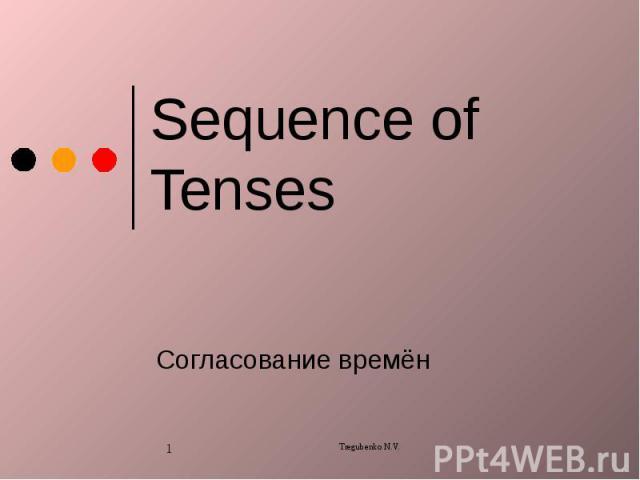 Sequence of Tenses Согласование времён