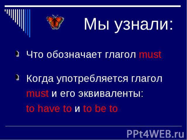 Мы узнали: Что обозначает глагол must Когда употребляется глагол must и его эквиваленты: to have to и to be to
