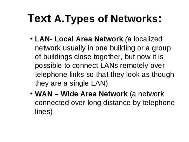 Text A.Types of Networks: LAN- Local Area Network (a localized network usually in one building or a group of buildings close together, but now it is possible to connect LANs remotely over telephone links so that they look as though they are a single…