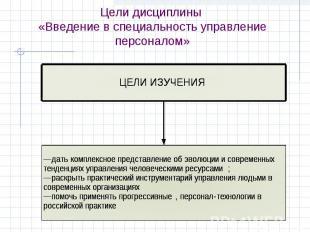 Цели дисциплины «Введение в специальность управление персоналом»