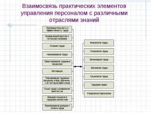 Взаимосвязь практических элементов управления персоналом с различными отраслями