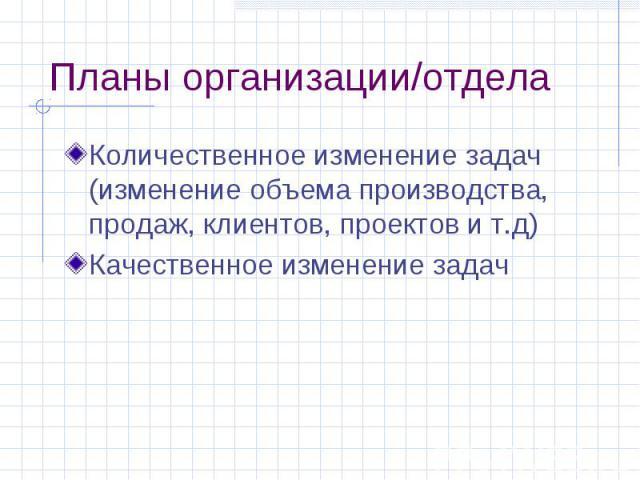 Планы организации/отдела Количественное изменение задач (изменение объема производства, продаж, клиентов, проектов и т.д) Качественное изменение задач