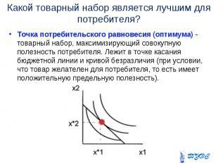 Точка потребительского равновесия (оптимума) - товарный набор, максимизирующий с