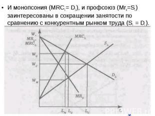 И монопсония (MRCL= DL), и профсоюз (Mru=SL) заинтересованы в сокращении занятос