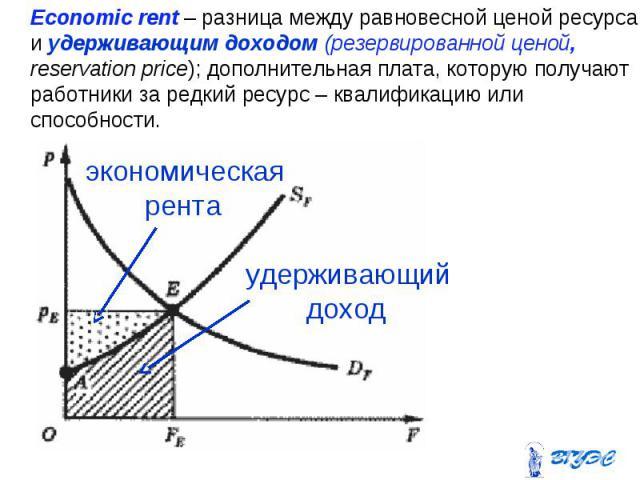 Economic rent – разница между равновесной ценой ресурса и удерживающим доходом (резервированной ценой, reservation price); дополнительная плата, которую получают работники за редкий ресурс – квалификацию или способности. Economic rent – разница межд…