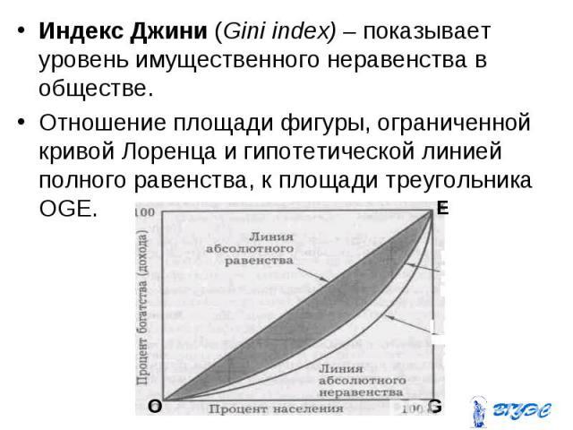 Индекс Джини (Gini index) – показывает уровень имущественного неравенства в обществе. Индекс Джини (Gini index) – показывает уровень имущественного неравенства в обществе. Отношение площади фигуры, ограниченной кривой Лоренца и гипотетической линией…