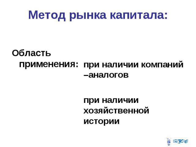 Метод рынка капитала: Область применения: