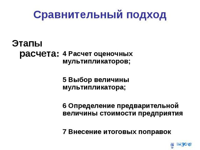 Сравнительный подход Этапы расчета: